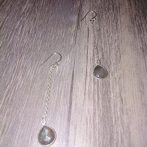 Labradorite chain drop sterling silver earrings